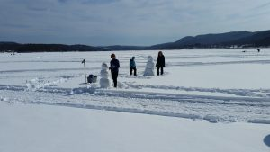 Mascoma Lake Snowmen village