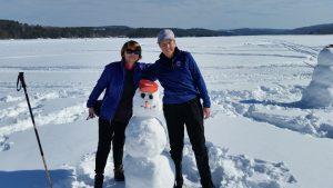 Snowman at Mascoma Lake